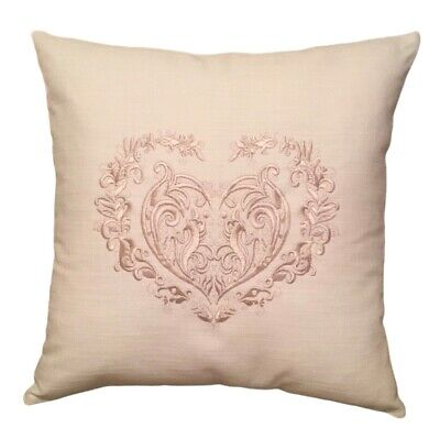 LACE HEART Embroidered Cushion Cover. 100% Cotton. Linen Look. French Style • 15£