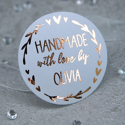 37mm Personalised Foil Labels Handmade With Love White Round Stickers Rose Gold • 4.99£