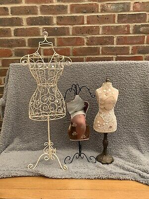 3 Lady Mannequins Jewellery Stands For Necklaces • 40£