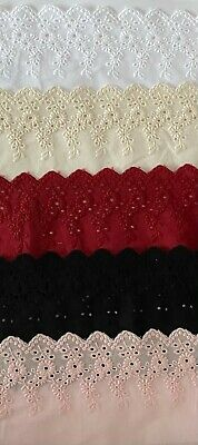 Cotton Embroidered Lace Fabric Trim 1 Yard Width 11 Cm • 3.89£