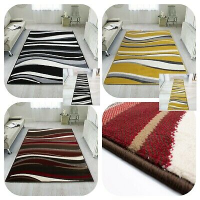 Large Wave Striped Rugs Living Room Rug Nautical Modern Hallway Carpet Runners  • 11.95£