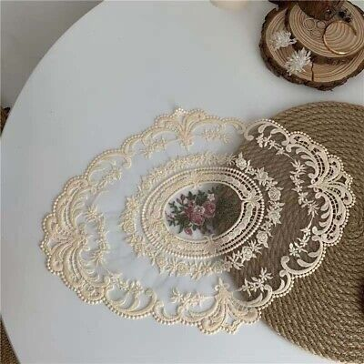 Oval Floral Lace Embroidered Placemat Doilies Table Runner Mats Cover Home Decor • 5.49£
