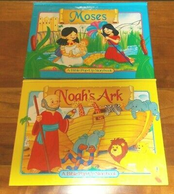£5.68 • Buy 2 Childrens Christian Books, A Bible POP-UP Storybooks - Noah's Ark & Moses