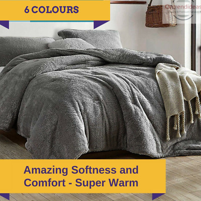 AU59 • Buy Ramesses Teddy Fleece Quilt Cover Set | Ultra Warm Bedding Cover Soft Fluffy