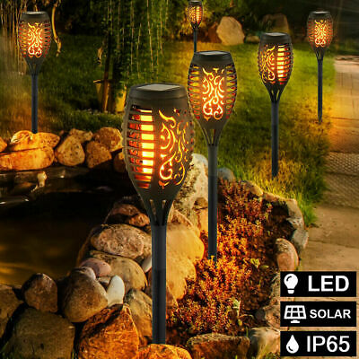 4Pcs LED Flame Solar Torch Light Waterproof Flickering Dancing Path Garden Lamp • 13.55£