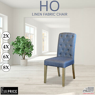 AU458 • Buy 2 4 6 8 HO Dining Chairs Black Leather Air Grey Fabric Solid Oak Legs Kitchen