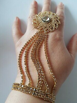 £10 • Buy Brand New Gold Indian Costume Jewellery Hand Piece Bracelet With Flower  Ring