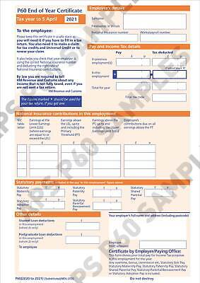 Hmrc/sage/iris 2021 P60 Year End Forms – Hmrc Approved - Pack Of 50 • 34£
