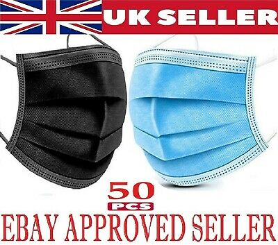 50 X Disposable Face Masks 3 Ply Dental Non Medical Surgical Mask Covering UK • 3.89£