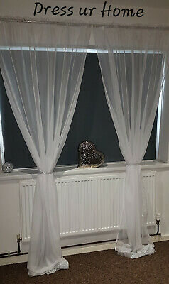 £23.99 • Buy ZIRCONS Ready Made Voile Net Curtains Diamante Patio French Doors Pencil Pleat