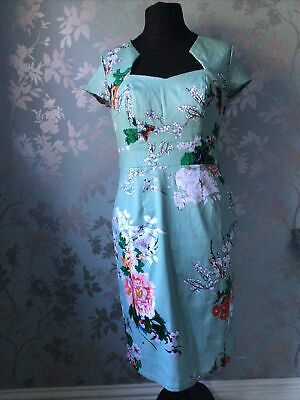 £14.99 • Buy Grace Karin Womens Sage Green Floral Print Pencil Dress Size XL New With Tags