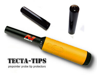 2 Full Length TECTA-TIPS For Minelab Pro-Find 15 20 35 Pin-pointer Probe BLACK • 6£
