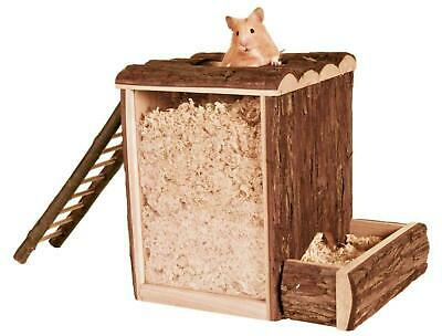 Wooden Play & Burrow Tower With 2 Entrances Ladder & Acrylic Glass Hamster Toy • 18.99£