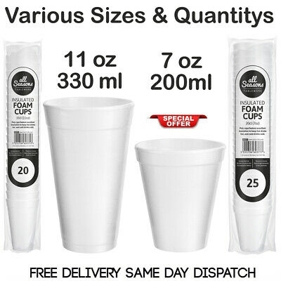 7oz 11oz WHITE FOAM  / POLYSTYRENE HOT DRINKS TEA DISPOSABLE CUP PARTY CUPS • 6.99£