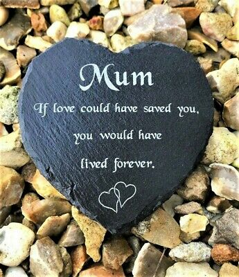 Personalised Engraved Slate Stone Heart Memorial Grave Marker Plaque ANY NAME • 9.99£