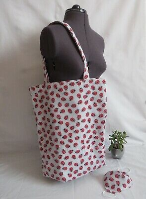 HANDMADE Ladybird TOTE Bag With FREE Matching Mask • 11£