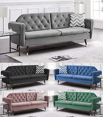 £239.99 • Buy Sofa Bed 3 Seater Velvet Fabric Padded Suite Luxury Recliner Sofabed Click Clac