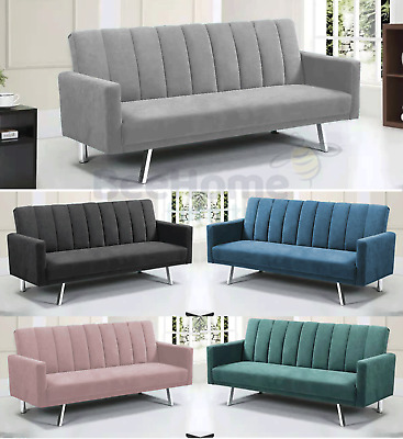 £209.99 • Buy Velvet Modern Recliner Sofa Bed Brand New Fabric 3 Seater Padded Sofabed Suite