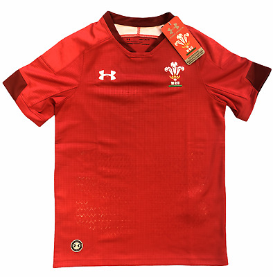 £15.99 • Buy Wales Rugby Kid's Shirt Under Armour Short Sleeve Home Jersey - Red - New
