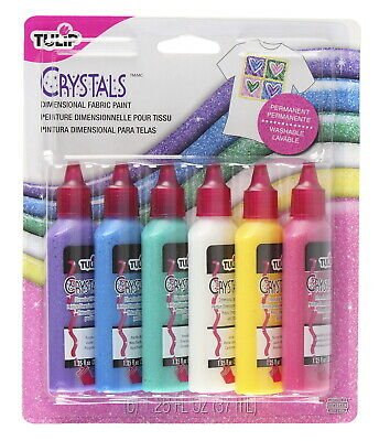 Tulip Washable Crystals 3D Fabric Paint Set, Assorted Colors, Set Of 6 • 8.04£