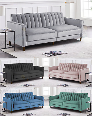 £329.99 • Buy Velvet Sofa Bed Convertible Recliner Adjustable Back Thick Cushions 3 Seater