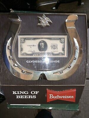 $ CDN227.81 • Buy Vtg 1969 Budweiser Beer Sign Old Clydesdale Horse Shoe 3 Dollar Bill Tavern Pub