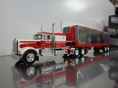 $ CDN138 • Buy Dcp First Gear 1/64 Red & White Kenworth W900a With Sleeper & 40' Reefer Trailer