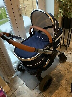 Icandy Peach Royal Blue Pram Pushchair Navy Blue Tan • 200£