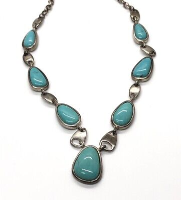"""$ CDN101.24 • Buy WK Sterling Silver Necklace 925 Turquoise Designer Whitney Kelly 18"""""""
