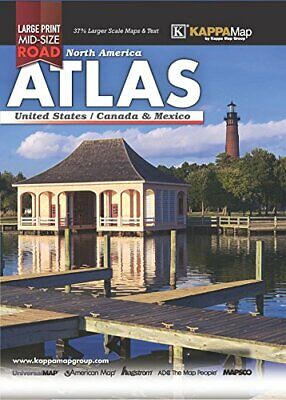 2018 NORTH AMERICA MID-SIZE LARGE PRINT ROAD ATLAS By Kappa Map Group EXCELLENT • 11.79£