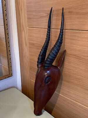 African Carved Wooden Wall Mounted Antelope Head • 60£