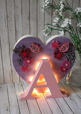 ❤MDF Initial Capital Letter, Love Heart Wooden Fairy Light Up Illuminated Lamp❤  • 18£