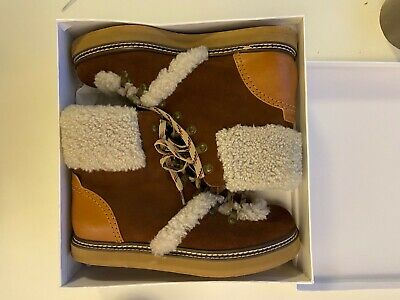 £174 • Buy See By Chloe Eileen Brown Leather Shearling Biker Ankle Boots, Size UK6, BNIB