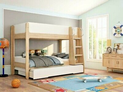 Lavish Kids Children Urban White & Oak Finish Trio Bunk Bed + Pull Out Trundle • 749.99£