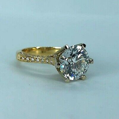 £8799 • Buy GIA Cert. 4.48 Ct Diamond Engagement Solitaire Ring Real 18 K (750) Yellow Gold.