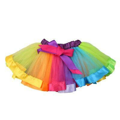 Colorful Casual Girl Baby Kids Rainbow Ballet Dance Ruffle Tutu Skirt(4-5T) L&6 • 6.64£