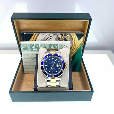 $ CDN13916.37 • Buy Rolex Submariner 16613 Blue Dial 18K Yellow Gold Stainless Steel Box Papers