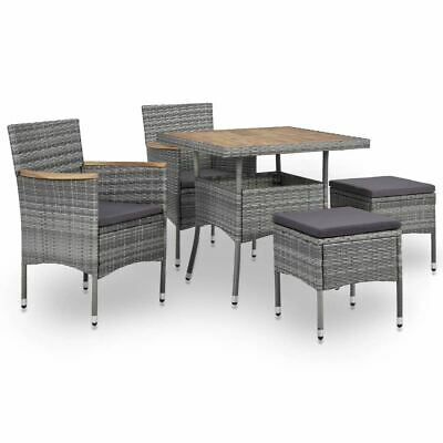 AU341.95 • Buy 5 Pcs Rattan Garden Dining Table And Chairs With Cushions Outdoor Dinner Set
