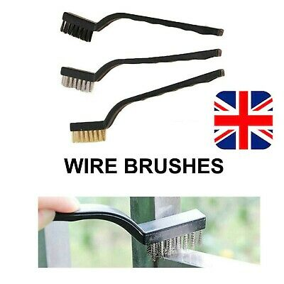 3 Wire Brush Mini Micro Small Steel Brass DIY Paint Rust Metal Remover Removal • 1.79£