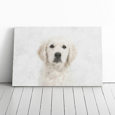 £22.95 • Buy Golden Retriever Puppy Painting Wall Art Canvas Print Large Home Decor Picture