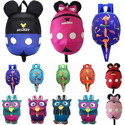 Toddler Kids Baby Dinosaur Mickey Safety Harness Strap Bag Backpack With Reins • 10.82£