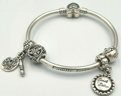 AU56 • Buy Pandora Ladies Silver Bangle With 4x Charms ALE 925  Family Fovever