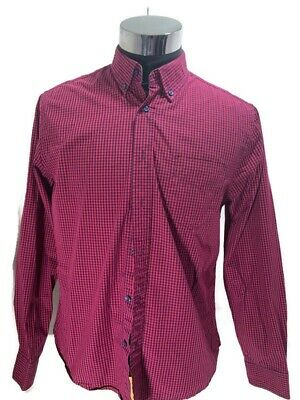 £9.99 • Buy Charles Wilson Men's Shirt Check Burgundy And Blue Long Sleeves Size L Chest 42