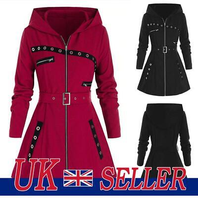 £17.99 • Buy Womens Gothic Hooded Jacket Long Sleeve Trench Coat Overcoat Punk Parka Outwear