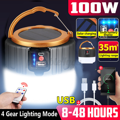 AU27.99 • Buy 100W LED Solar Light + Remote USB Rechargeable Tent Camping Emergency Outdoor