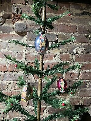 $ CDN42.60 • Buy Vintage Christmas Decorations 3 Glass Baubles With Scraps
