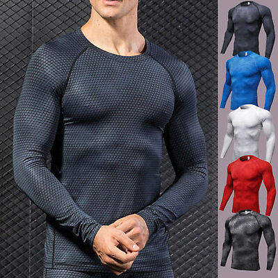 Mens Compression Base Layer Slim Fit Long Sleeve Shirts Muscle Sports Gym Tops • 10.29£