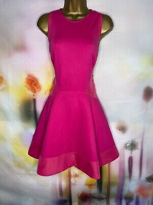 AU22.57 • Buy Ted Baker 'hearn' Fit & Flare Stretchy Pink Dress Size 3 Uk 12 Us 8