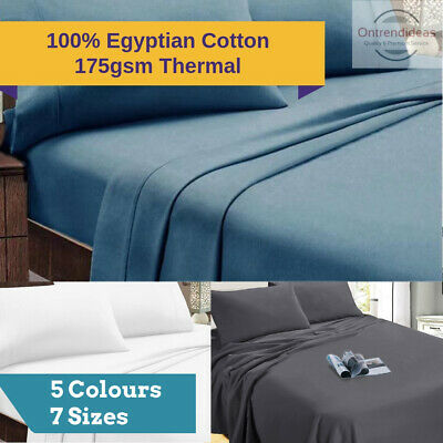 AU65 • Buy Ramesses 100% Egyptian Cotton Flannelette Sheet Set Winter Thermal 175GSM Sheets