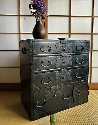 Antique Japanese Furniture Wood Cabinet Isho Dansu Shonai Tansu Black Lacquered • 774.22£